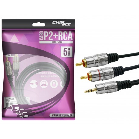 Cabo P2 X RCA Metal ouro 5 metro Chip Sce