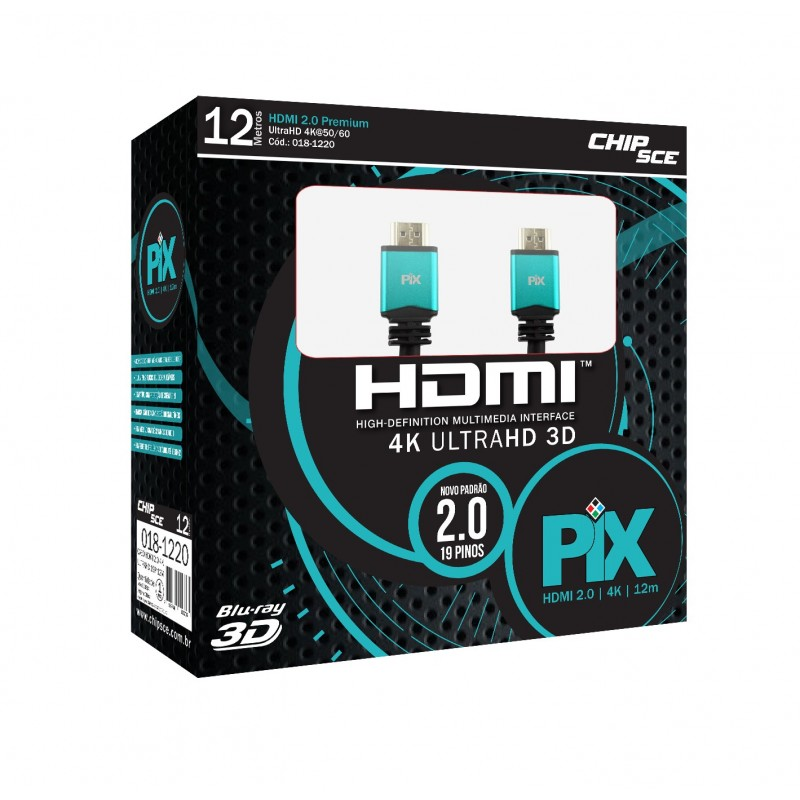 Cabos HDMI 2.0 Ultra HD 4K 12 metros Chip Sce